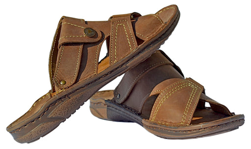 Dash - mens open toe sandals - Reindeer Leather