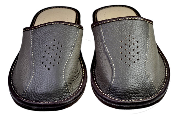 Henry Men's Cowhide Leather House Slippers - Reindeer Leather