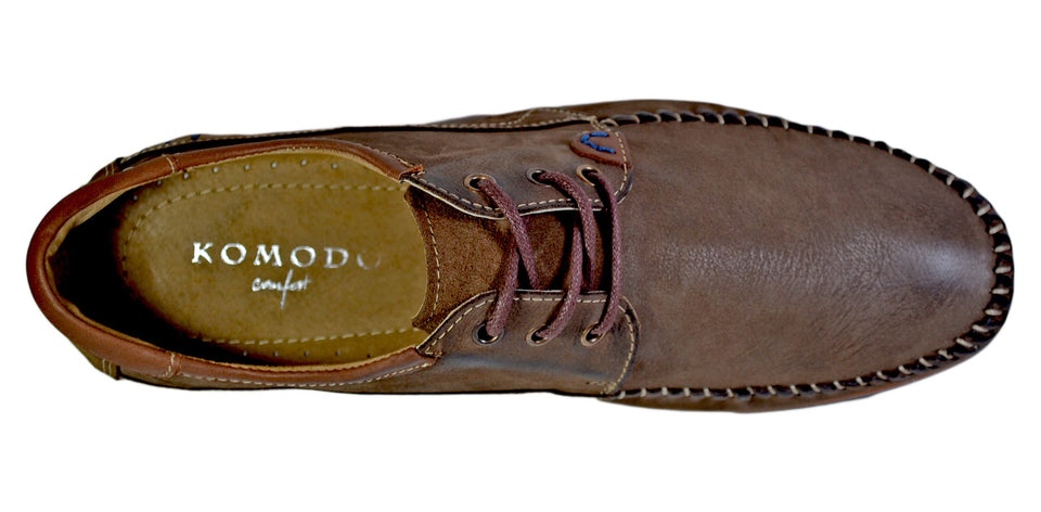 Komodo Original Antique Leather Moccasins Casual Lace-Up Shoes - Reindeer Leather
