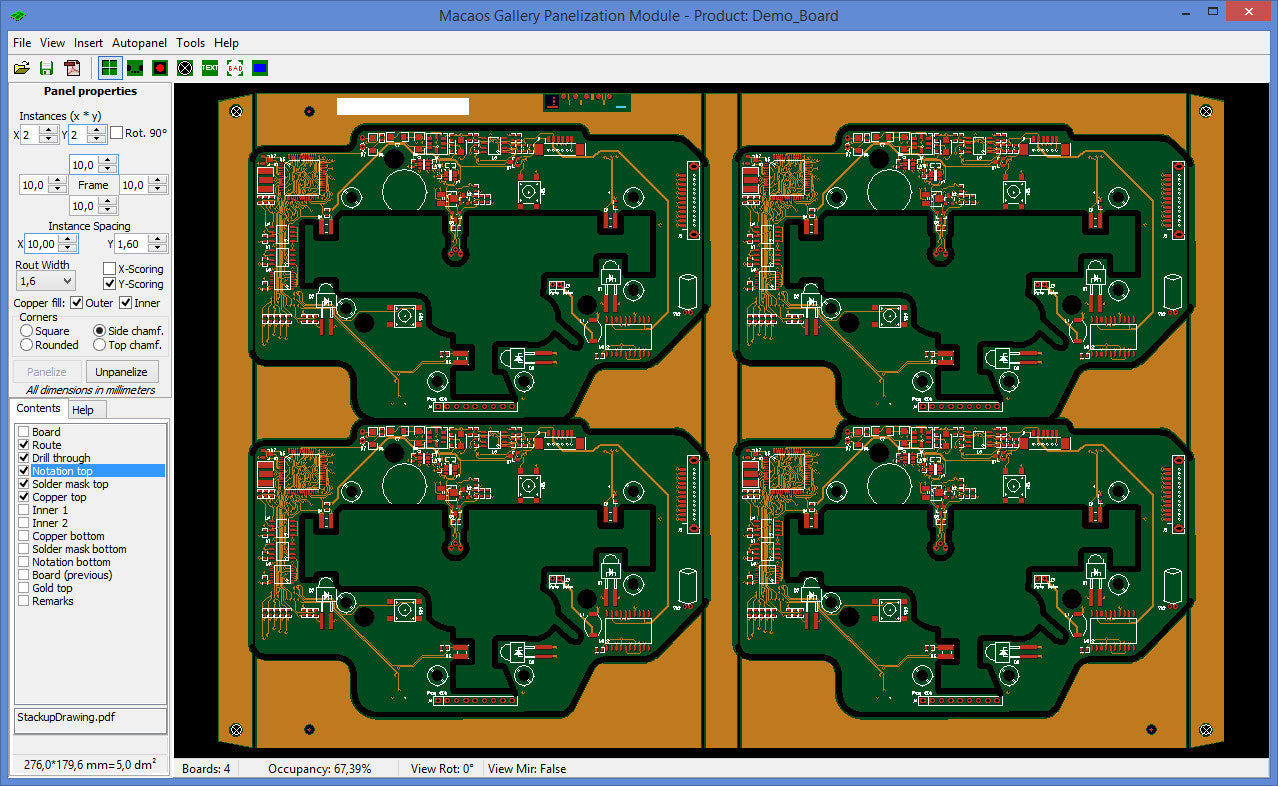 Step up a PCB to a panel suitable for assembly
