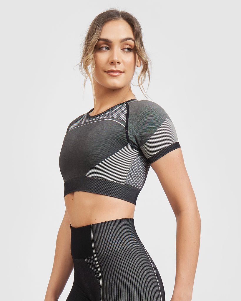 Core Trainer Lulu Crop Top Charcoal