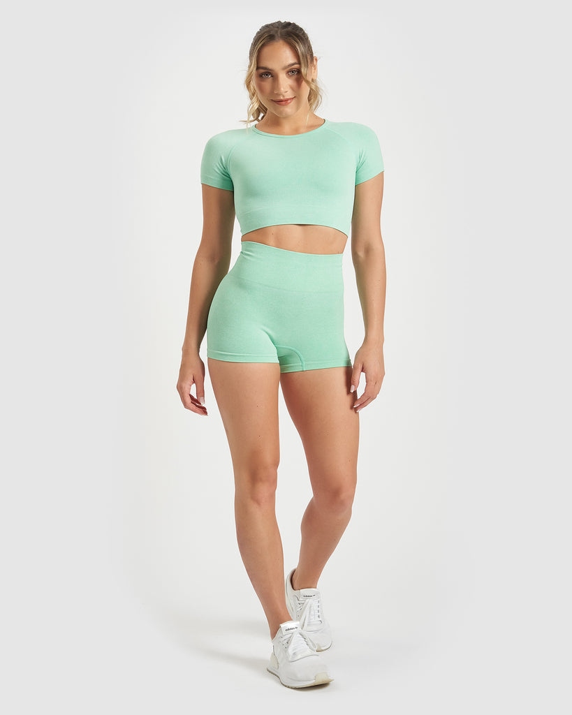 Core Trainer Charlie Active Booty Shorts Mint