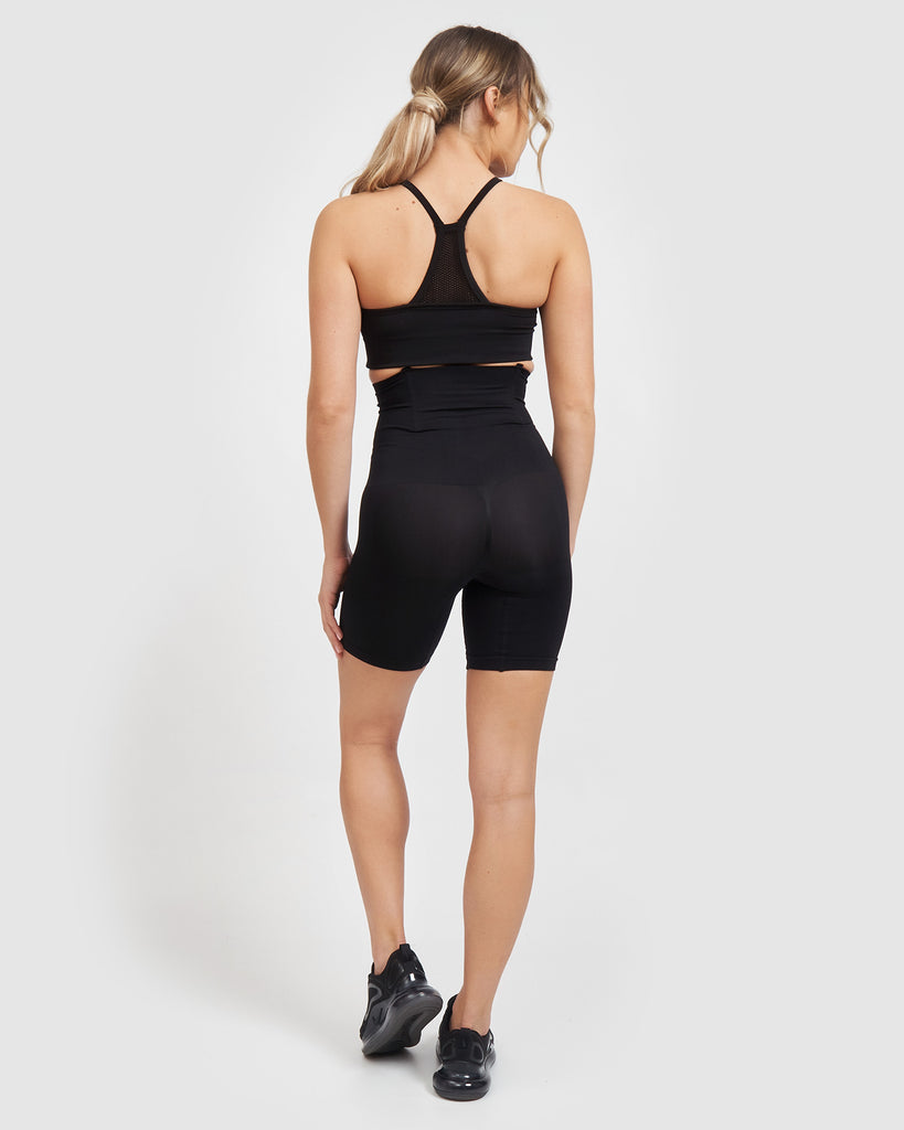 Core Trainer High Waisted Shape Wear Midi Shorts Black