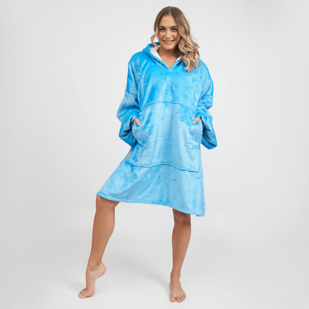Miz Casa & Co Luxury Hooded Blanket Ocean Blue