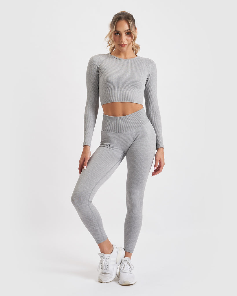 Core Trainer Paris Ribbed Tights Grey