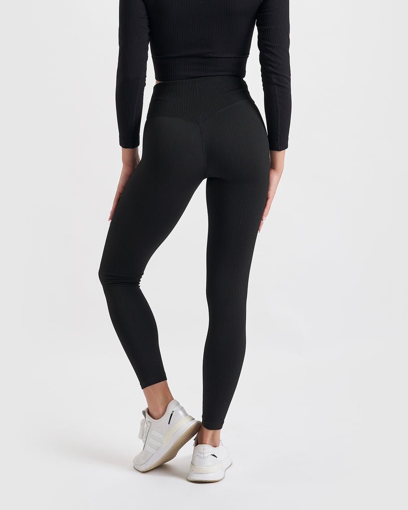 Core Trainer Paris Ribbed Tights Black