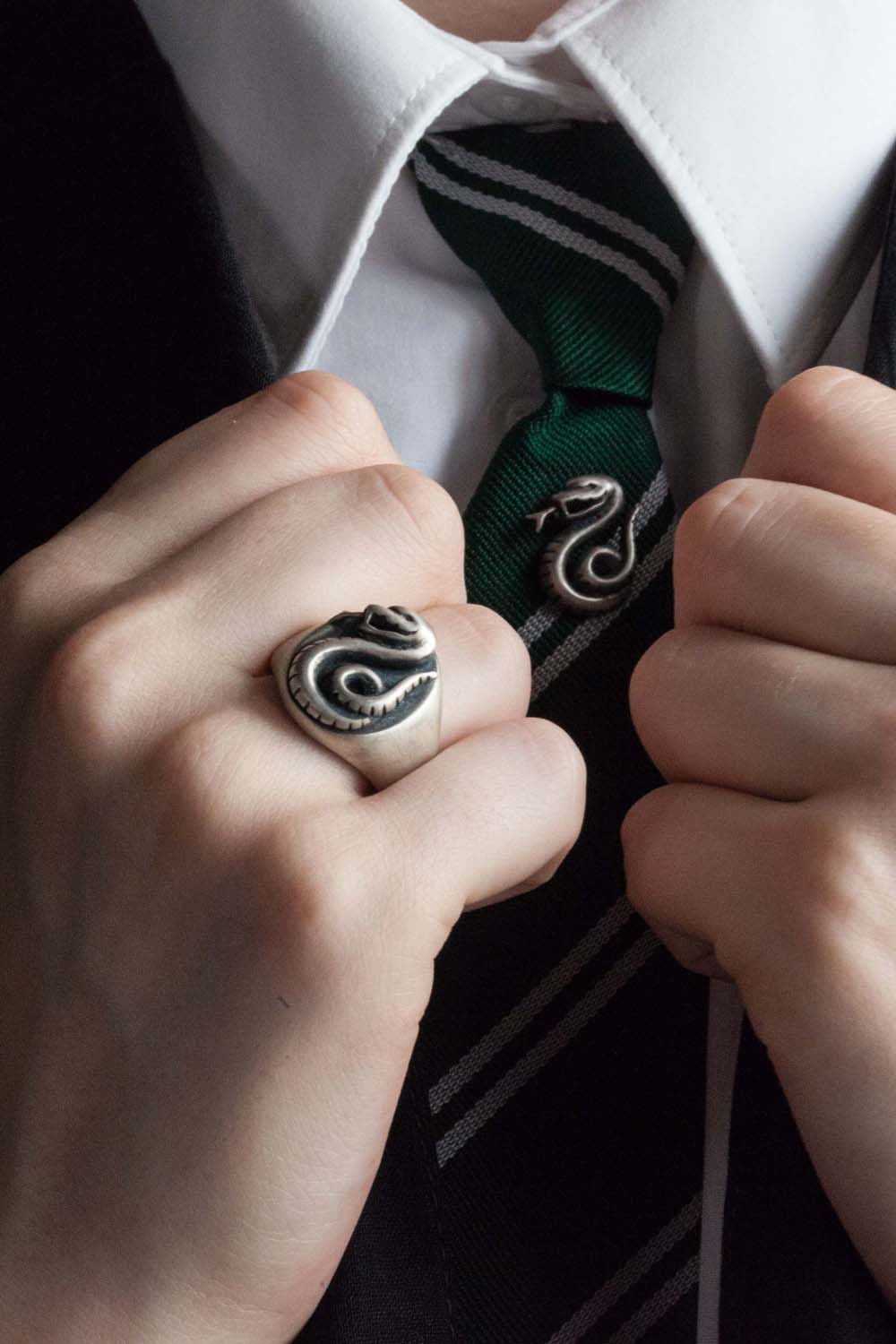 Harry Potter Slytherin Ring & Tie Pin handmade by Catherine Hills Jewellery