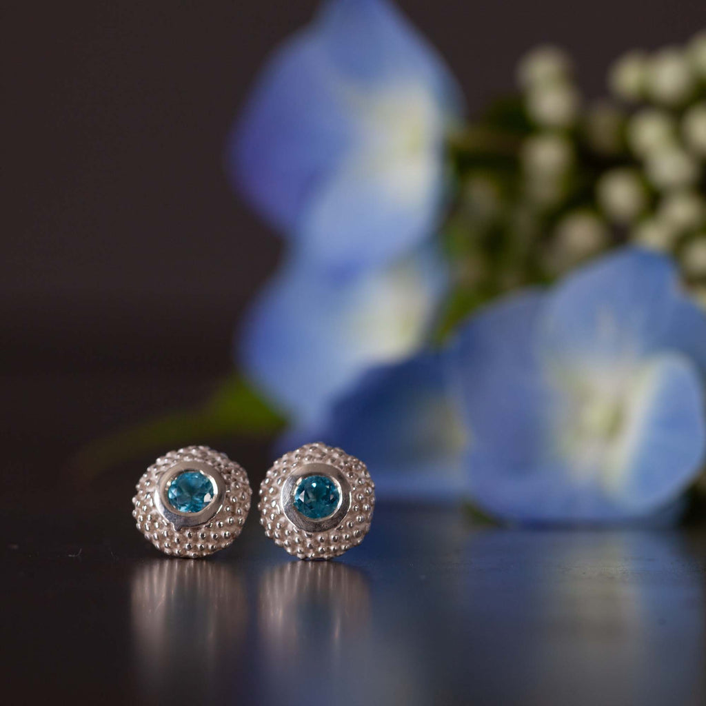 Catherine Hills Jewellery Swiss Blue Topaz birthstone pollen studs earrings