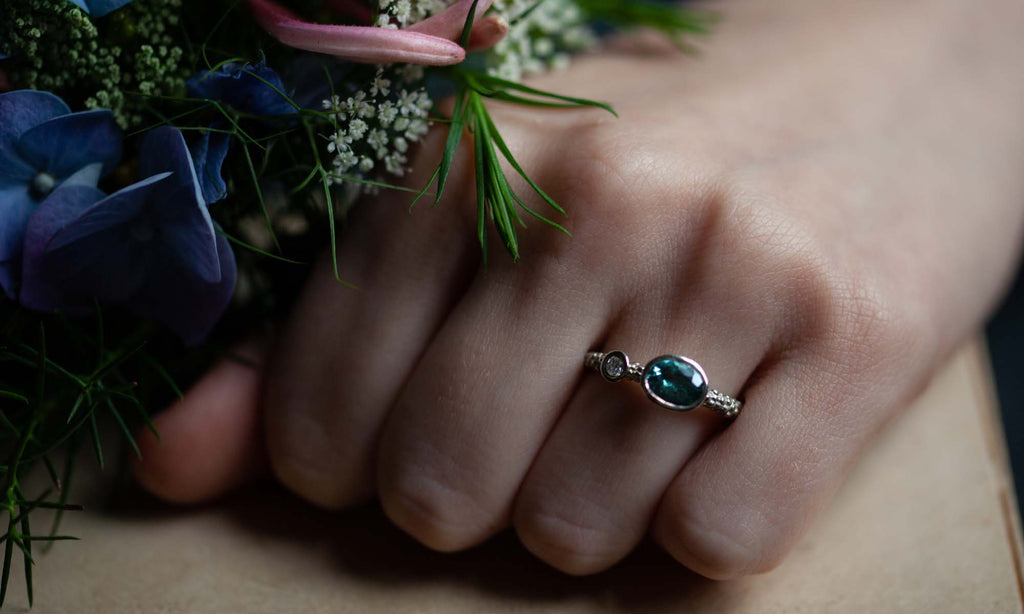 Catherine Hills Jewellery Couplet blue tourmaline engagement ring