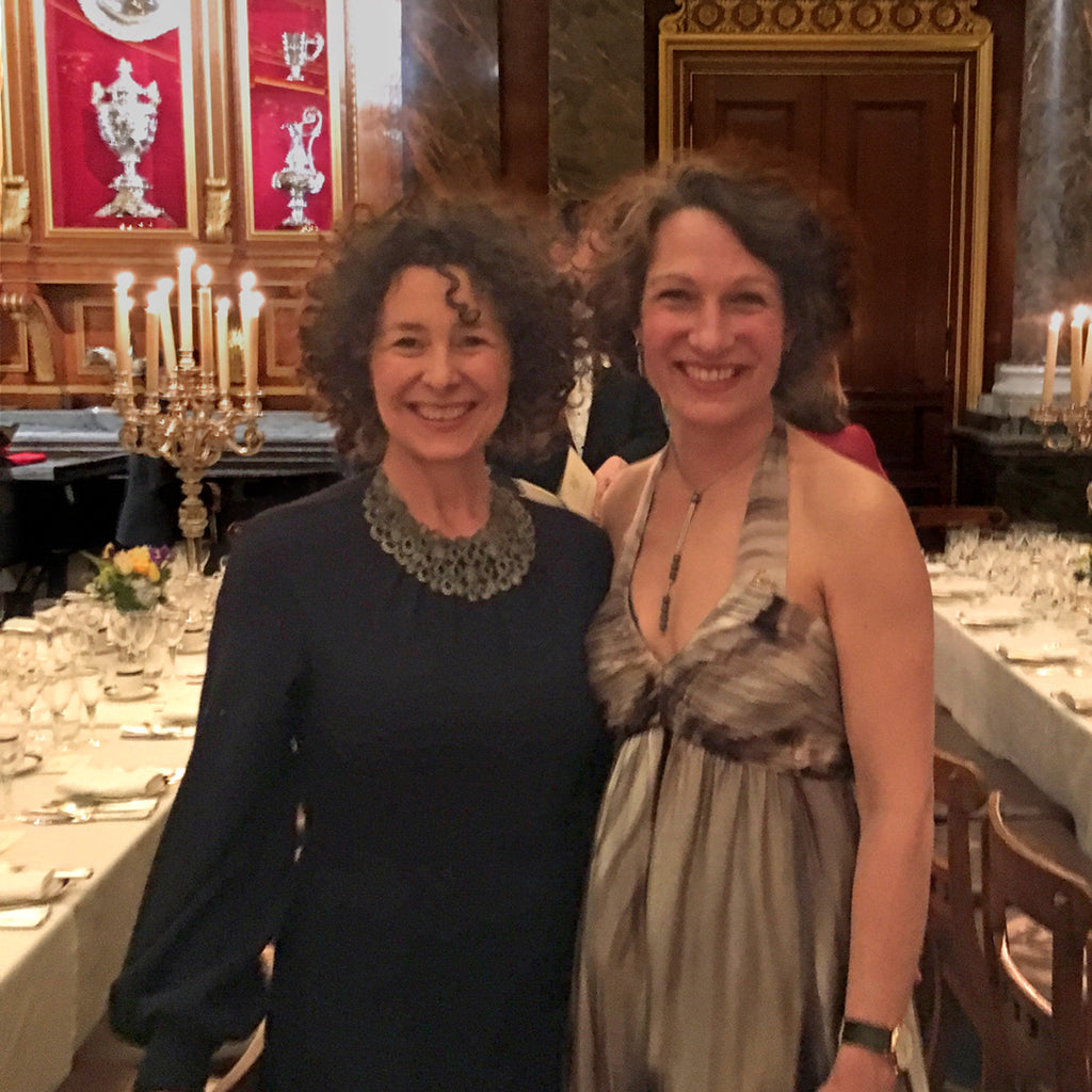 Catherine Hills and Polly Meynell at Drapers Hall dinner 2019