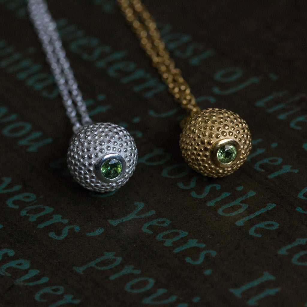 Catherine Hills Jewellery August Peridot birthstone ball and chain necklace