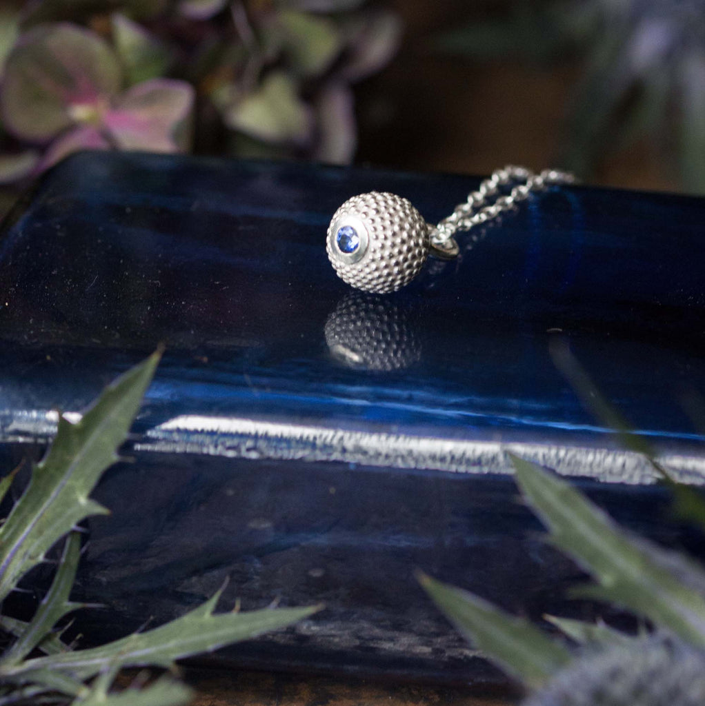Catherine Hills Jewellery Sapphire birthstone ball and chain pendant necklace