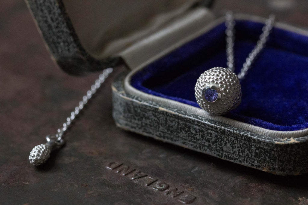 Catherine Hills Jewellery Tanzanite December birthstone ball and chain pendant necklace