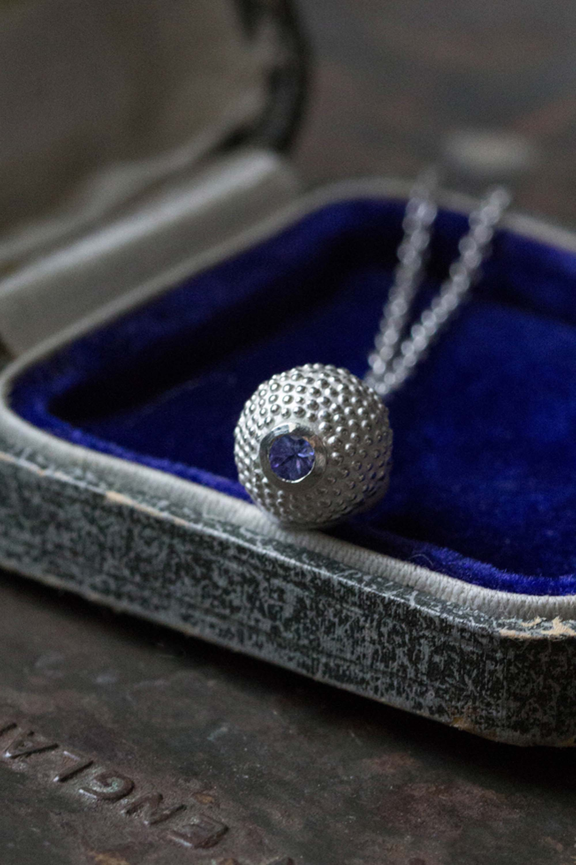 Catherine Hills Jewellery birthstone ball and chain pendant necklace