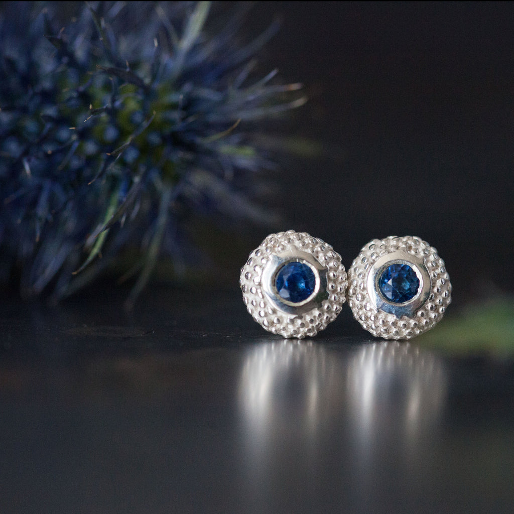 Catherine Hills Jewellery Sapphire birthstone pollen studs earrings