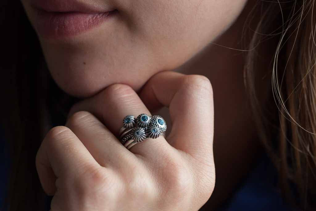 Catherine Hills Jewellery Blue Topaz birthstone pollen stacking rings