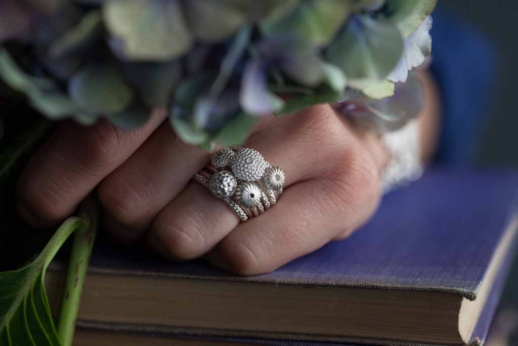 Catherine Hills Jewellery, silver pollen stacking rings