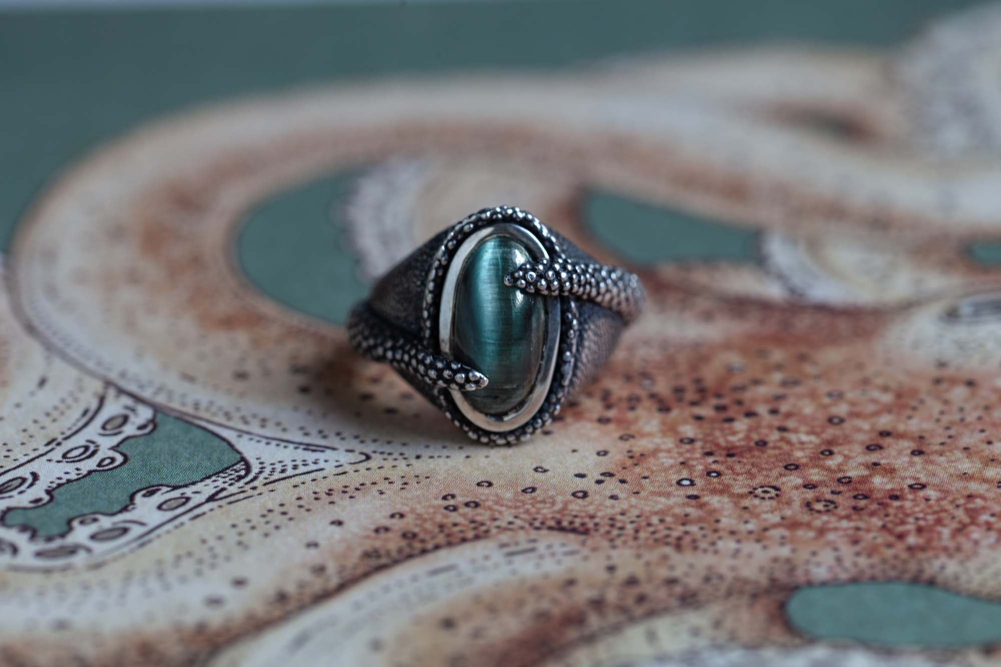 Catherine Hills Jewellery Goldmsiths Collection 2020 - Cat's Eye Octopus Ring