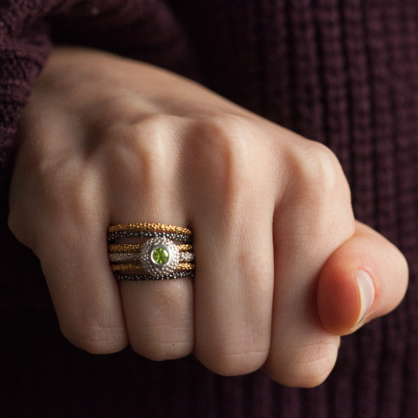 Catherine Hills Jewellery, pollen stacking rings mixed metals