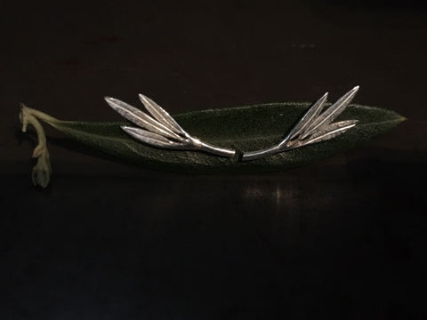 Commissioned olive leaf earrings