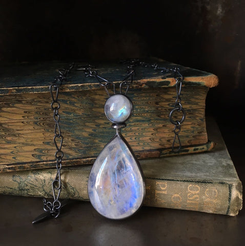 Commissioned moonstone pendant necklace