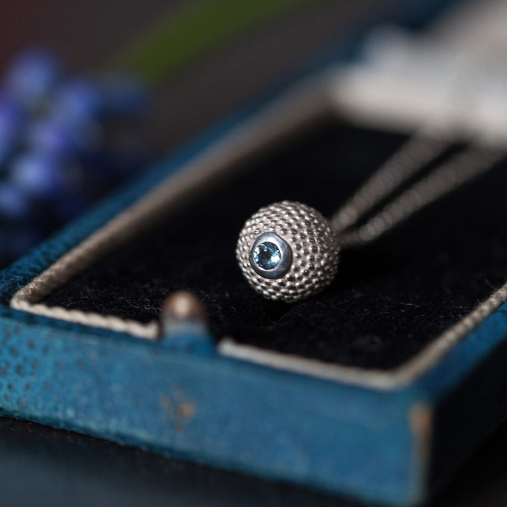 Catherine Hills Jewellery: Aquamarine birthstone ball and chain