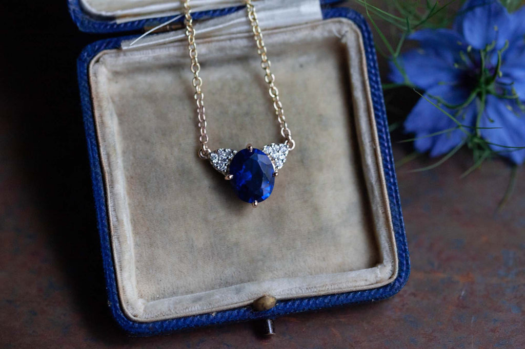 Catherine Hills Jewellery Commission - blue spinel and diamond pendant