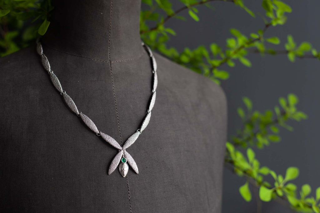 Catherine Hills Jewellery Bespoke Emerald Petal Necklace Commission
