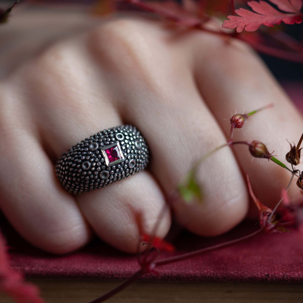 Catherine Hills Jewellery Commission  - Ruby bubble ring