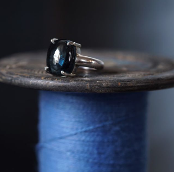 Catherine Hills Jewellery Blue Cabuchon Topaz ring commission