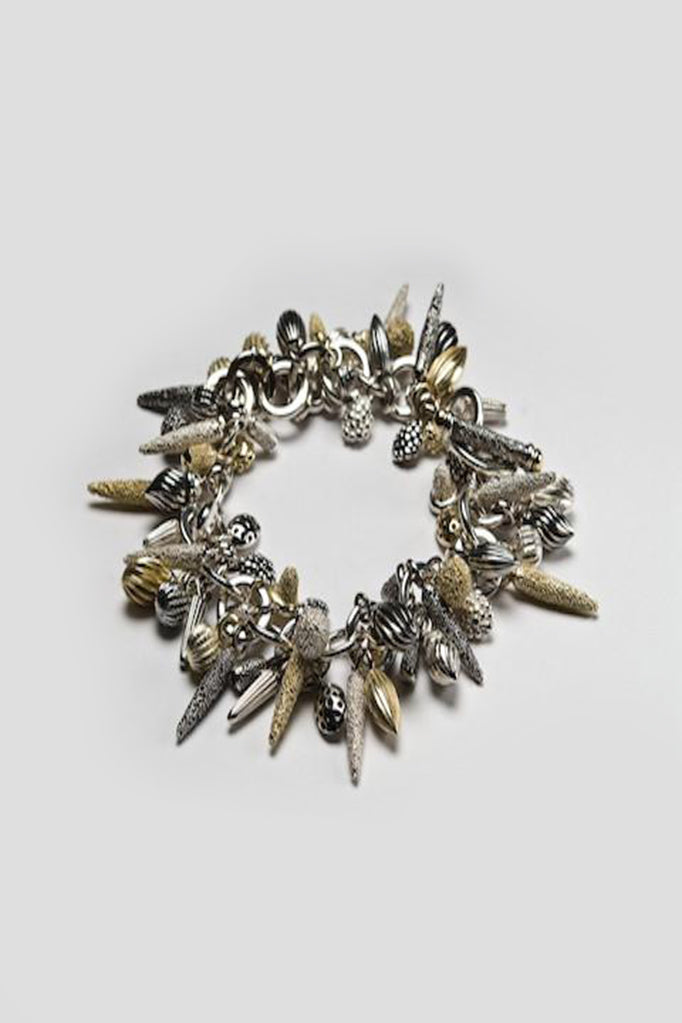 mixed pod cluster bracelet handmade textured charm bracelet gold silver oxidised silver contemporary bracelet