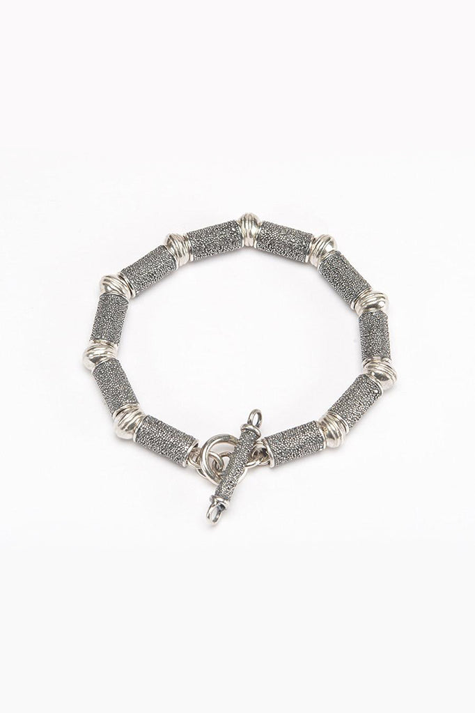 textured bead bracelet contemporary silver and oxidised silver textured bracelet made in england