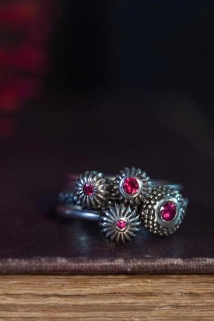 July Ruby Four Pollen Stacking Rings