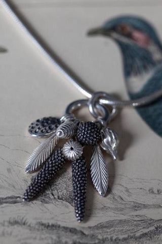 Dream Catcher Feather and Pod Cluster Pendant Necklace