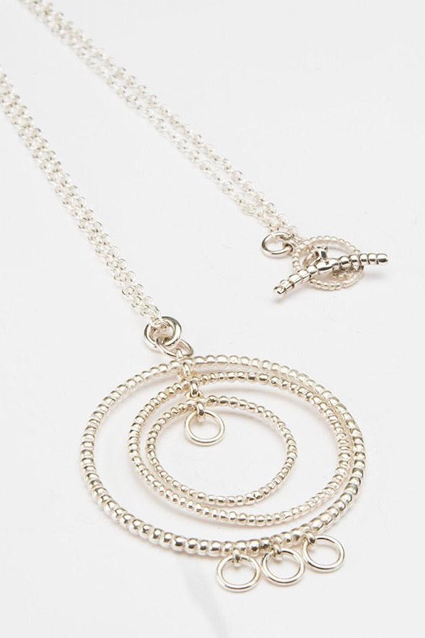 bubble hoop necklace silver hoop necklace contemporary hoop necklace