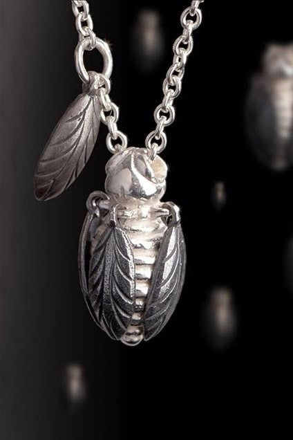 tiny bee pendant necklace oxidised silver and silver bee necklace handmade bee necklace