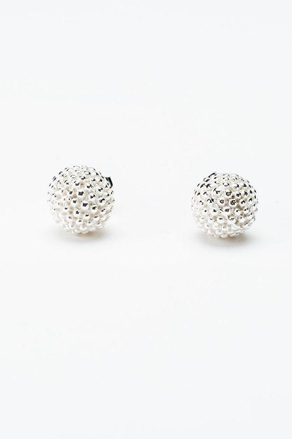 mimosa stud earrings silver handmade earrings contemporary textured earrings