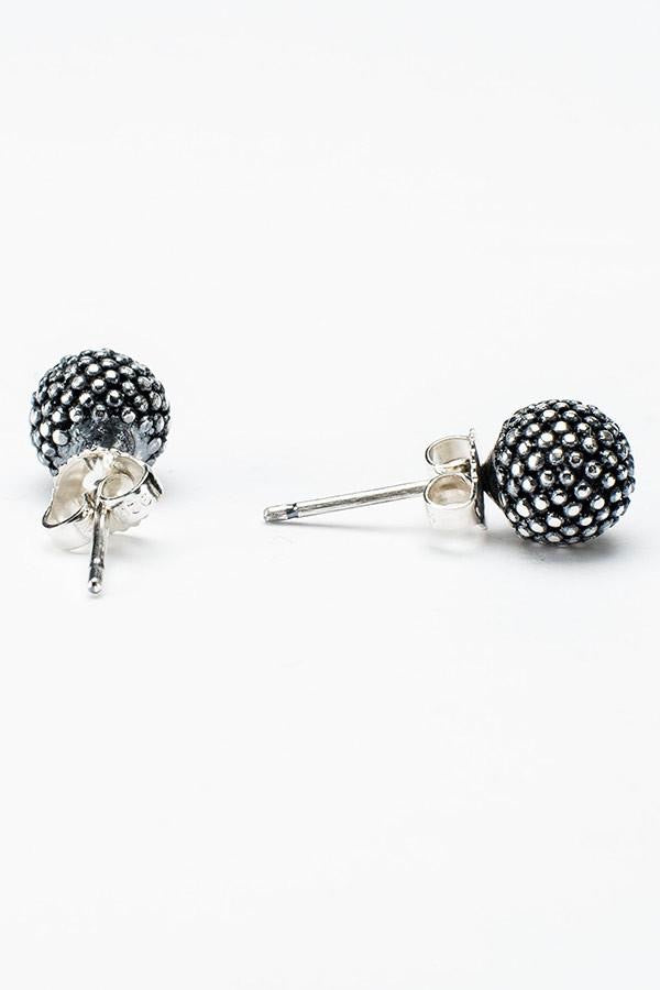 mimosa stud earrings oxidised silver handmade earrings contemporary textured earrings