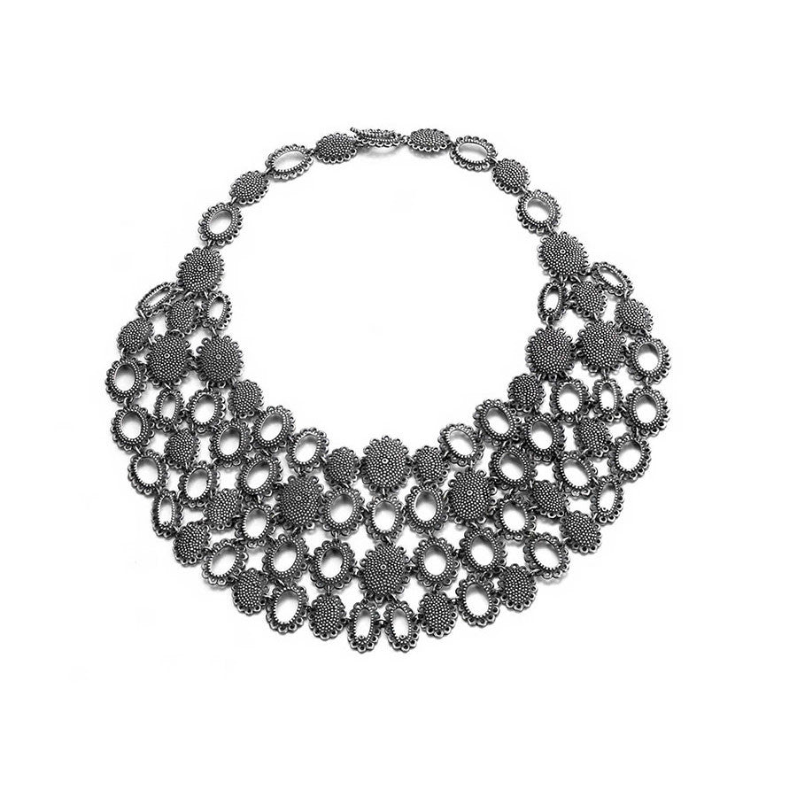 baroque necklaces statement necklaces oxidised silver armour collar necklaces