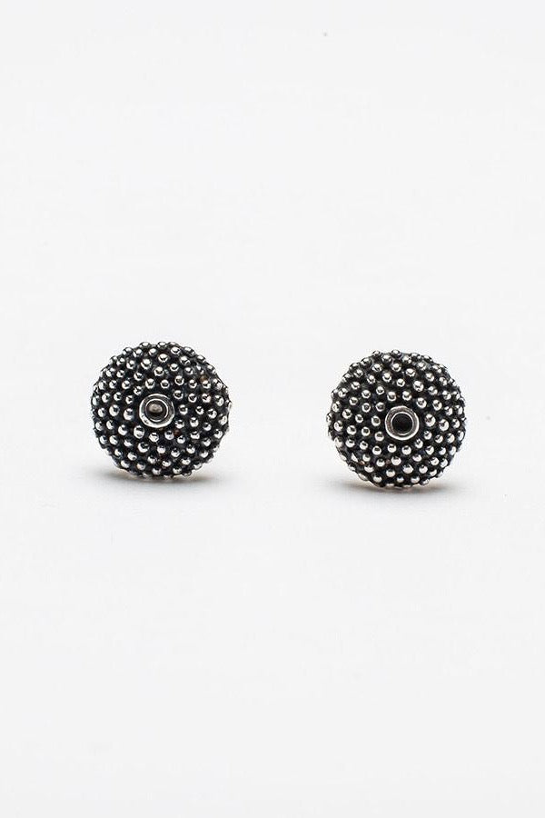 spot the missing stone stud earrings contemporary textured earrings handmade oxidised silver earrings