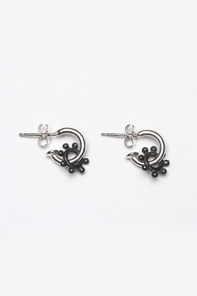 daisy hoop earrings contemporary daisy earrings silver and oxidised silver daisy earrings