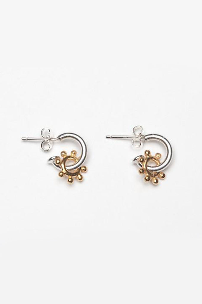 daisy hoop earrings contemporary daisy earrings silver and gold daisy earrings