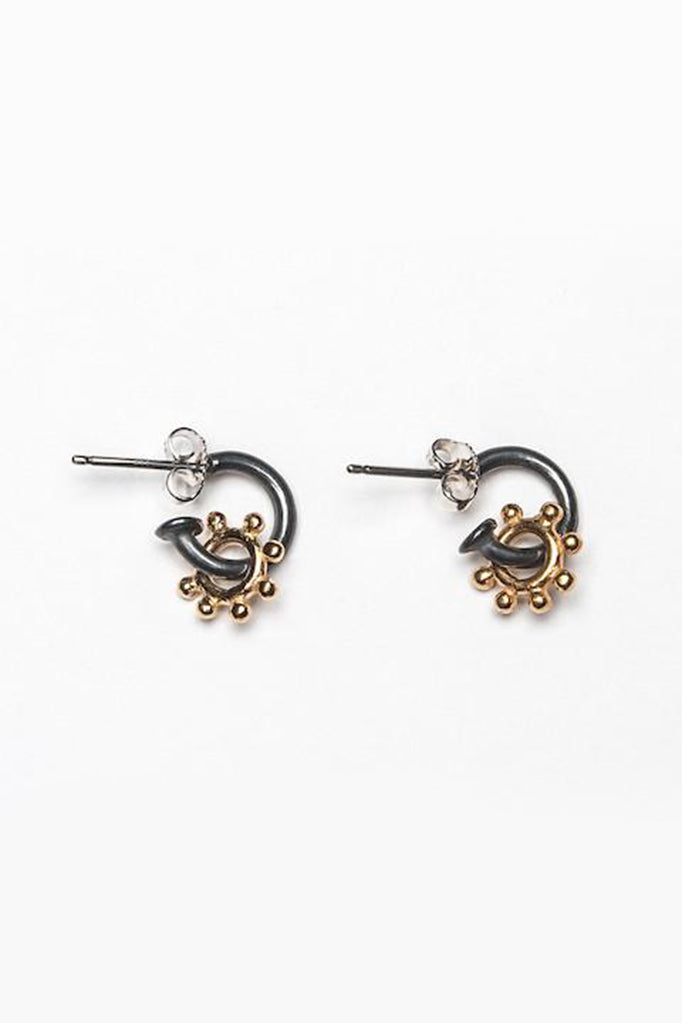 daisy hoop earrings contemporary daisy earrings gold and oxidised silver daisy earrings