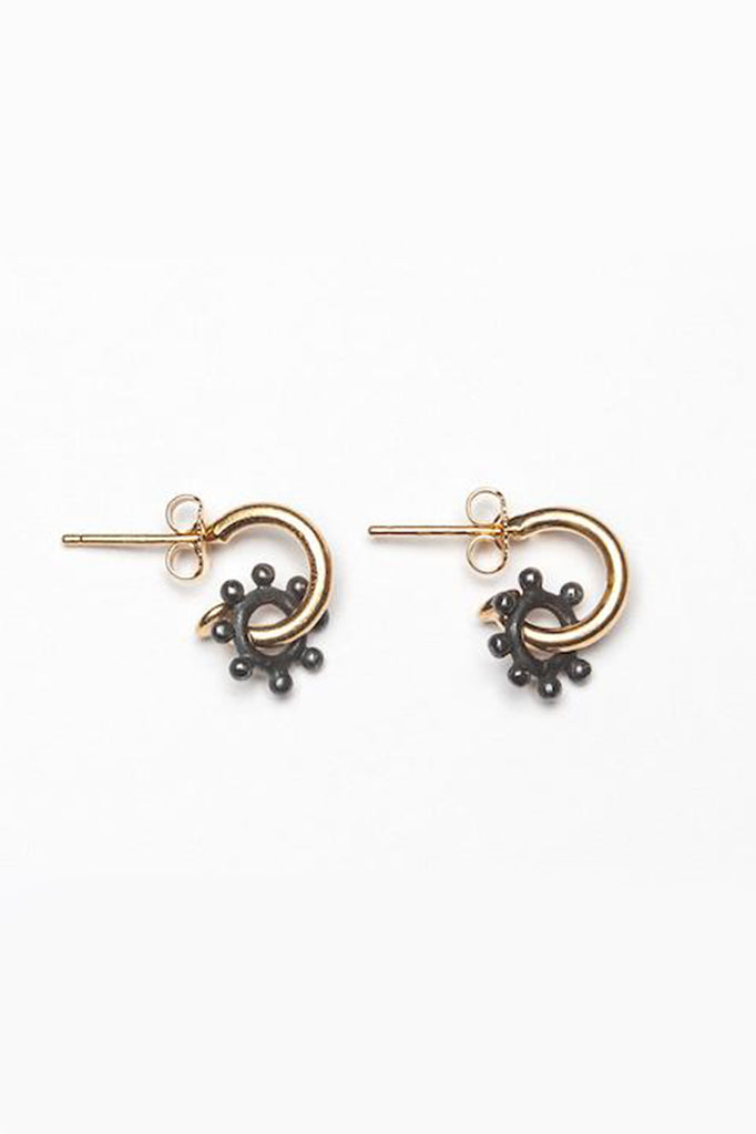 daisy hoop earrings contemporary daisy earrings oxidised silver and gold daisy earrings