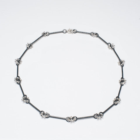 daisy chain necklace silver and oxidised silver daisy chain necklace contemporary daisy chain necklace