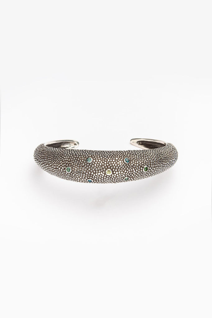 Axolotl Cuff Bangle with Blue and Green Tourmalines