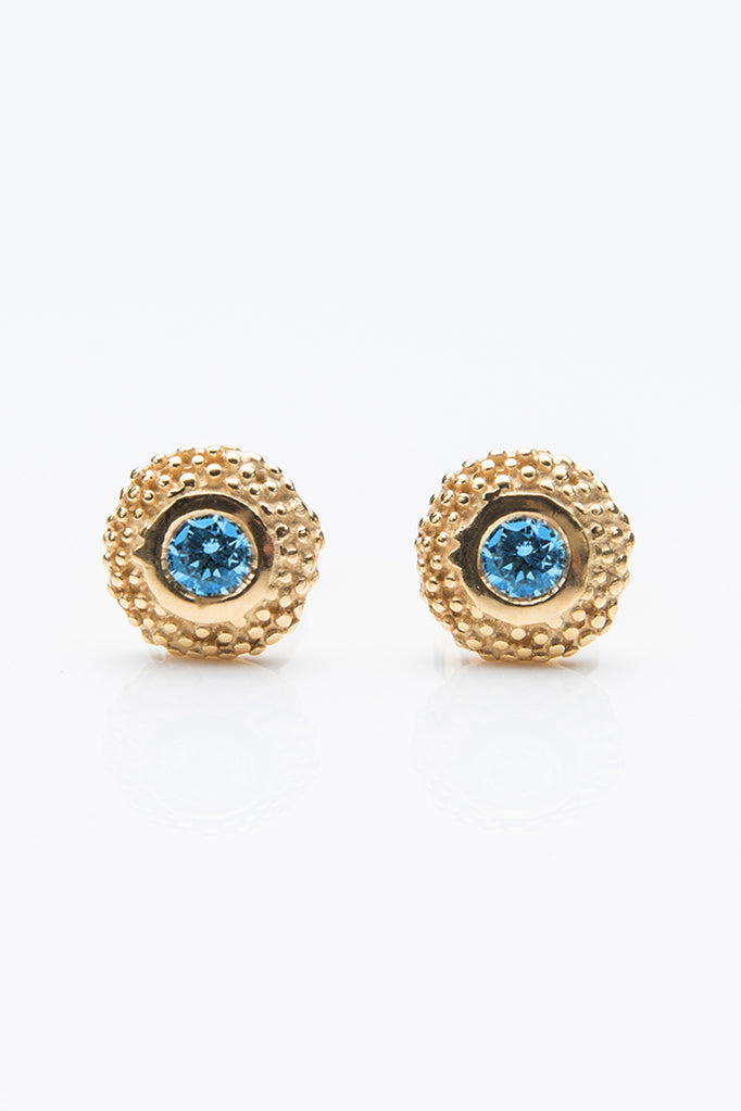 November Swiss Blue Topaz Bobbled Pollen Stud Earrings