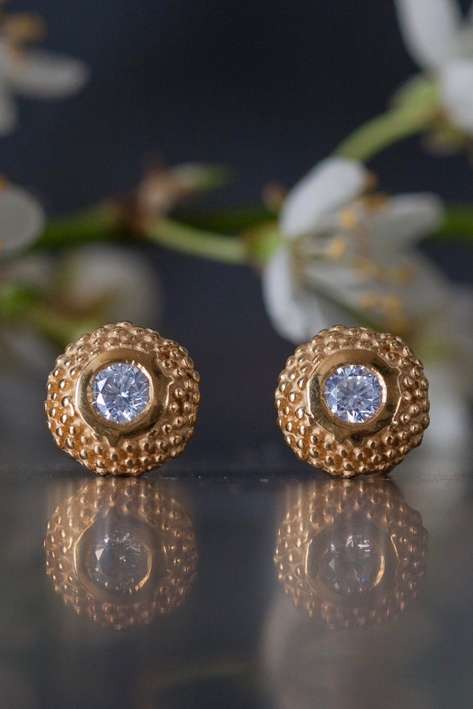 April Diamond Bobbled Pollen Stud Earrings