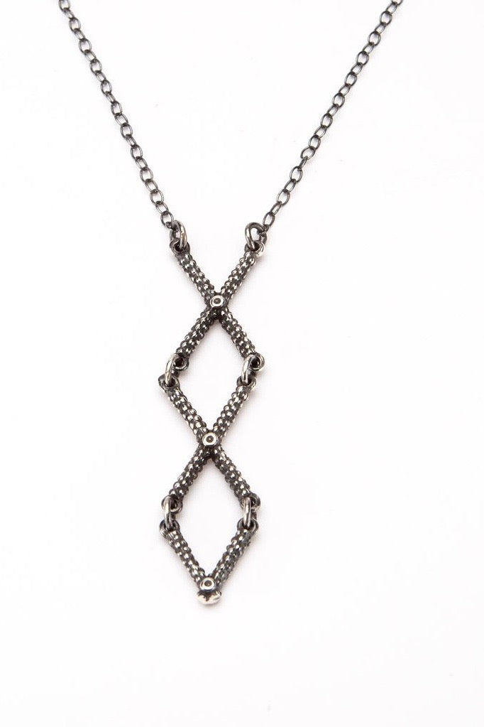 cross necklace textured oxidised silver necklace handmade contemporary cross necklace
