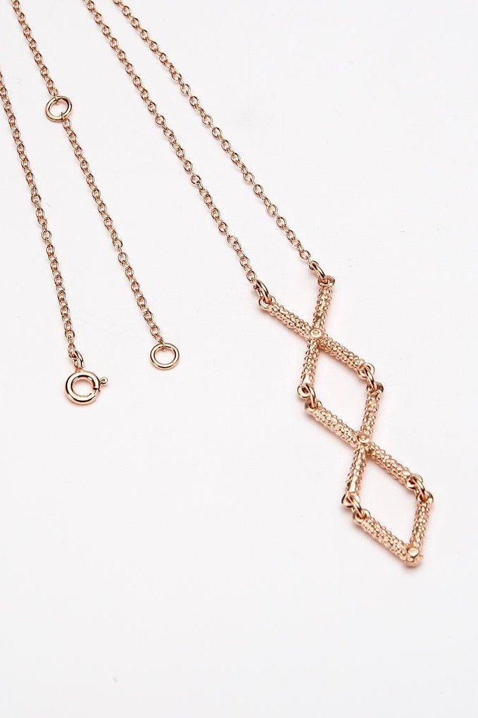 cross necklace textured rose gold necklace handmade contemporary cross necklace